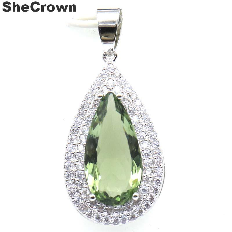 37x17mm Deluxe Drop Shape Created Paris Blue Topaz Green Amethyst CZ Gift For Woman's Silver Pendant
