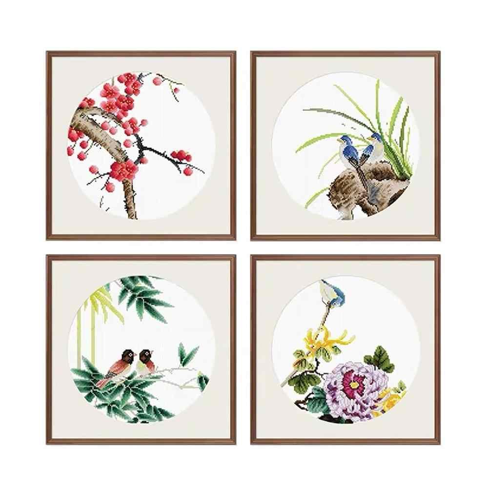 Quatre Noble plante quatre messieurs fleur la fleur de prunier orchidée bambou chrysanthème estampillé Kit de point de croix