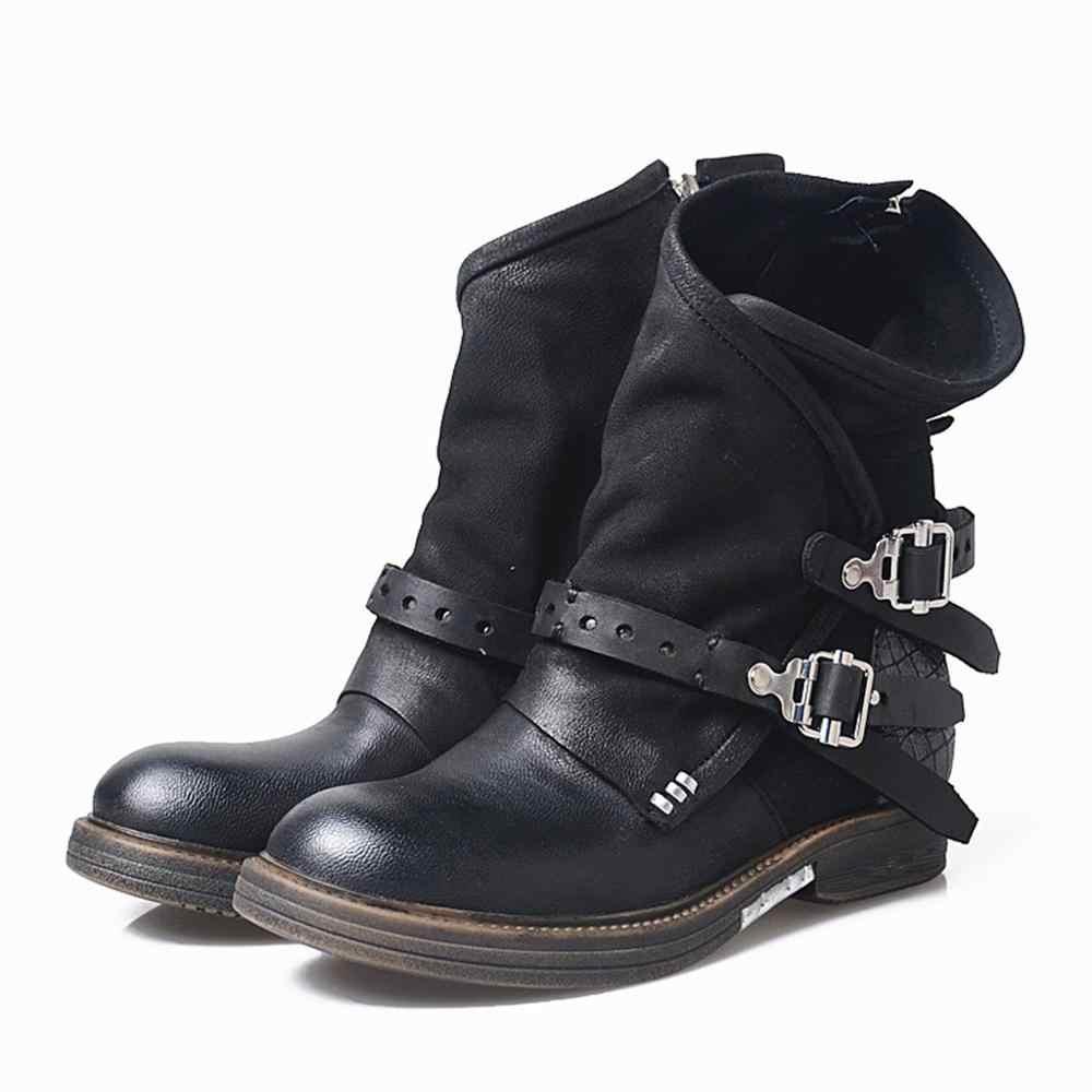 Kışlık botlar kadın pilili sıcak platform çizmeler Med topuklu çizmeler yarım çizmeler yüksek topuklu yumuşak deri serin Retro kemer toka ayakkabı