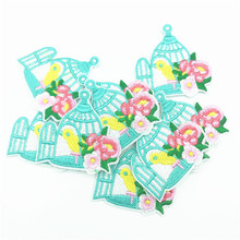 100pcs Birdcage Flower Patch 50x50mm Iron on Bird Patches Embroidery Stickers Appliques Badge Garment Accessoires