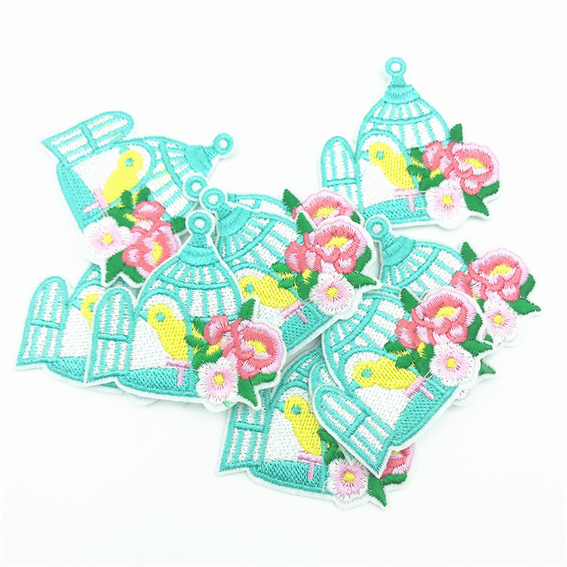 50pcs Birdcage Patch Flower Embroidered Patches Iron On Sewing Applique Badge Clothes Patch Stickers in Patches from Home Garden