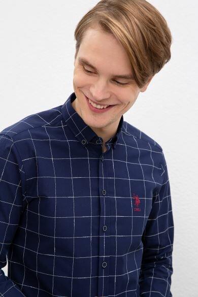 U.S. POLO ASSN. Navy Blue Square Slim Shirt