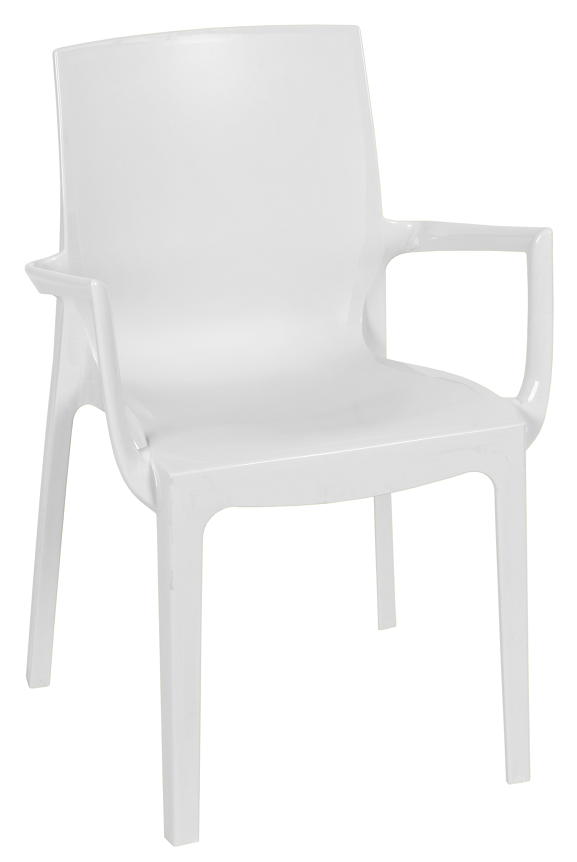 Armchair EMY, Stackable, White Polypropylene