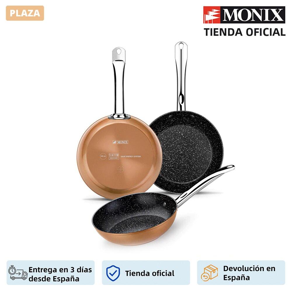 Monix Copper Juego 3 sartenes antiadherentes de aluminio acabado cobre. Set para cocina de gas vitroceramica inducción|Juegos de utensilios de cocina| - AliExpress