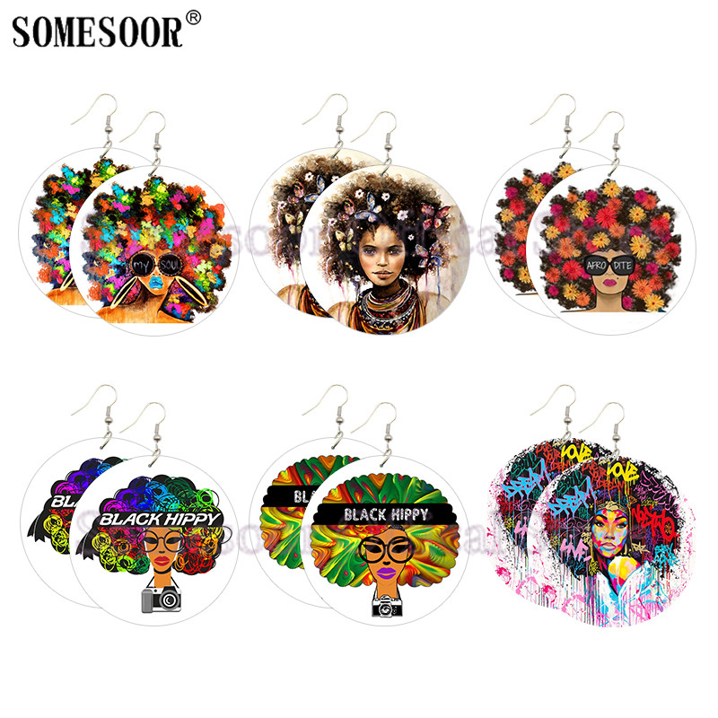 SOMESOOR Afro Dite My Soul Natural Hair Art Painted Wooden Drop Earrings Butterfly Flower Black Beauty Hippy For Women Gifts
