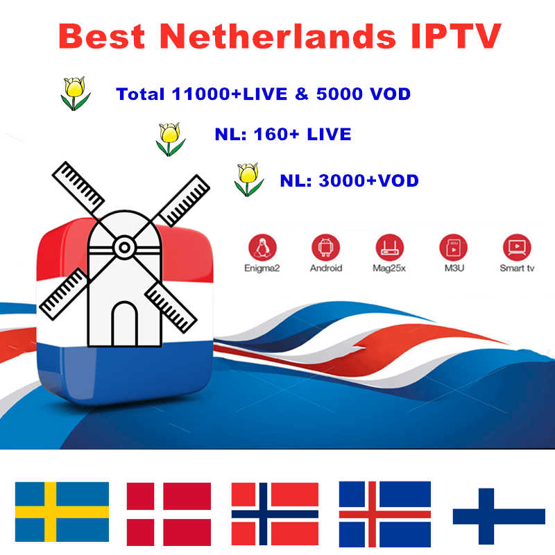 Nederlands iptv 11000 HD abonnement en direct android tv box europe france pays-bas suède allemagne iptv néerlandais m3u smart tv box