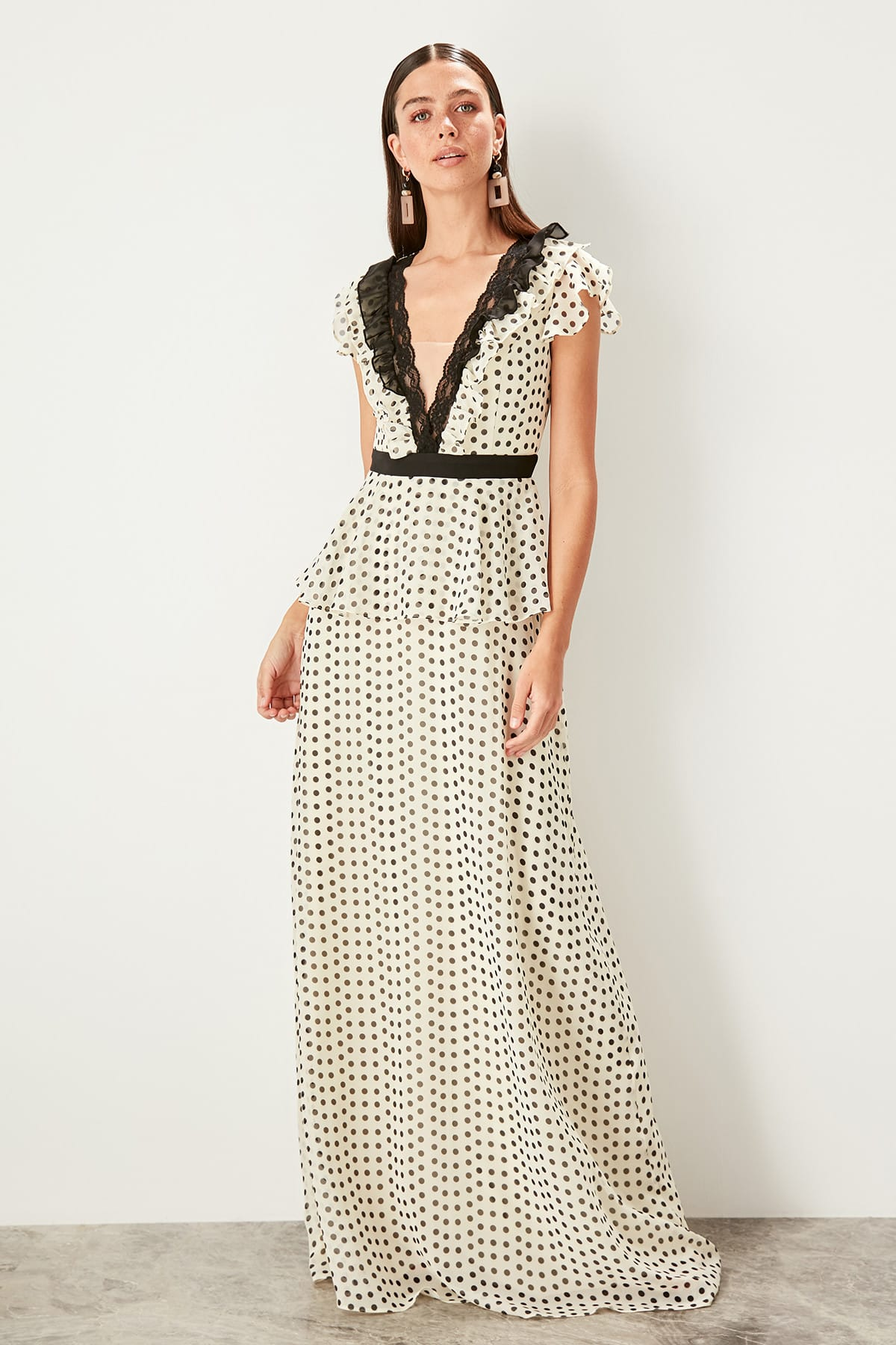 Trendyol Polka Dot Detailed Evening Dress TPRSS19UT0088