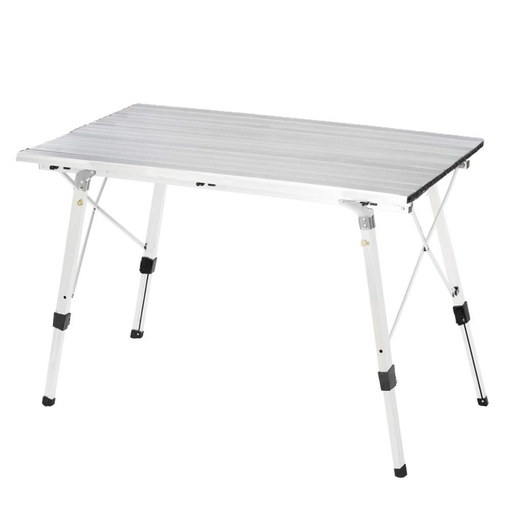 Folding Table Roll Up Table With Carrying Bag Portable Camping Table Adjustable Height For Camping Beach Backyard 46.5