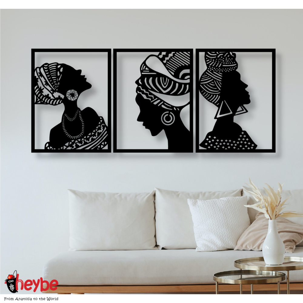 Wooden Wall Art and Decoration African Women 3 Pieces Portrait Decor Black Color Modern Home Office Living Room Bedroom Kitchen New Quality Gift Ideas 3D Creative Stylish Decorative Modern Ornament Beautiful Cute
