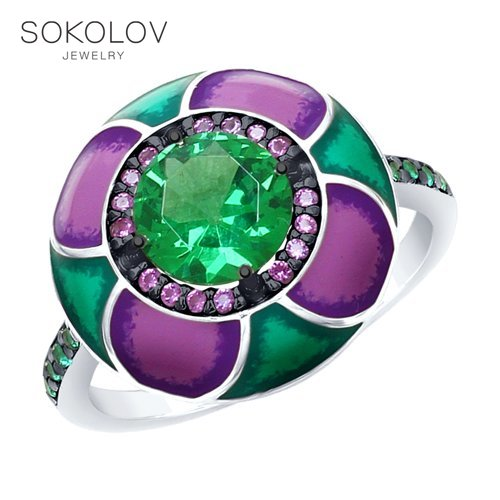 Ring. Sterling Silver With Enamel Green ситаллом And Green And Purple Cubic Zirconia Fashion Jewelry 925 Women's Male