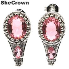 Gorgeous Real Red Ruby, White CZ Engagement 925 Silver Earrings Gift