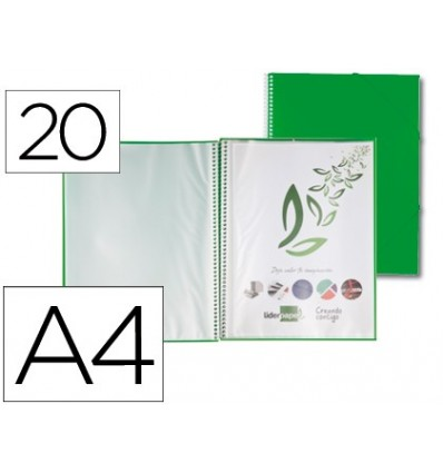 FOLDER LIDERPAPEL SHOWCASE WITH SPIRAL 20 CASES Polyprophylene DIN A4 GREEN