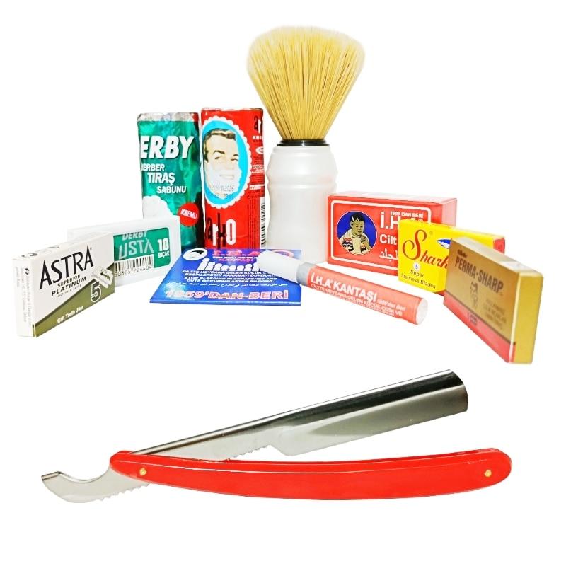 Arko Derby Shaving Soap, Brush, Straight Razor, Astra, Derby, Shark, Permasharp Blades, Alum Block, Bleeding Stopper Shaving Set