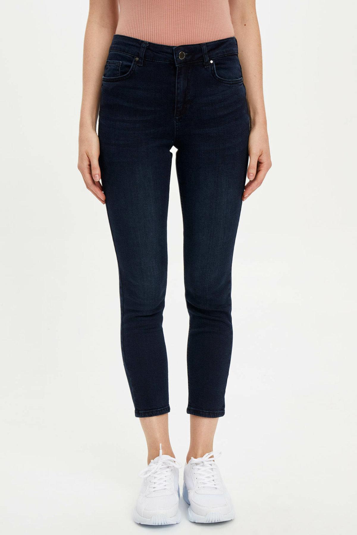 DeFacto Fashion Women Mid Waist Hole Jean Trousers Casual Elastic Slim  Denim Female Crop Pencil Pants Lady -L8137AZ19AU