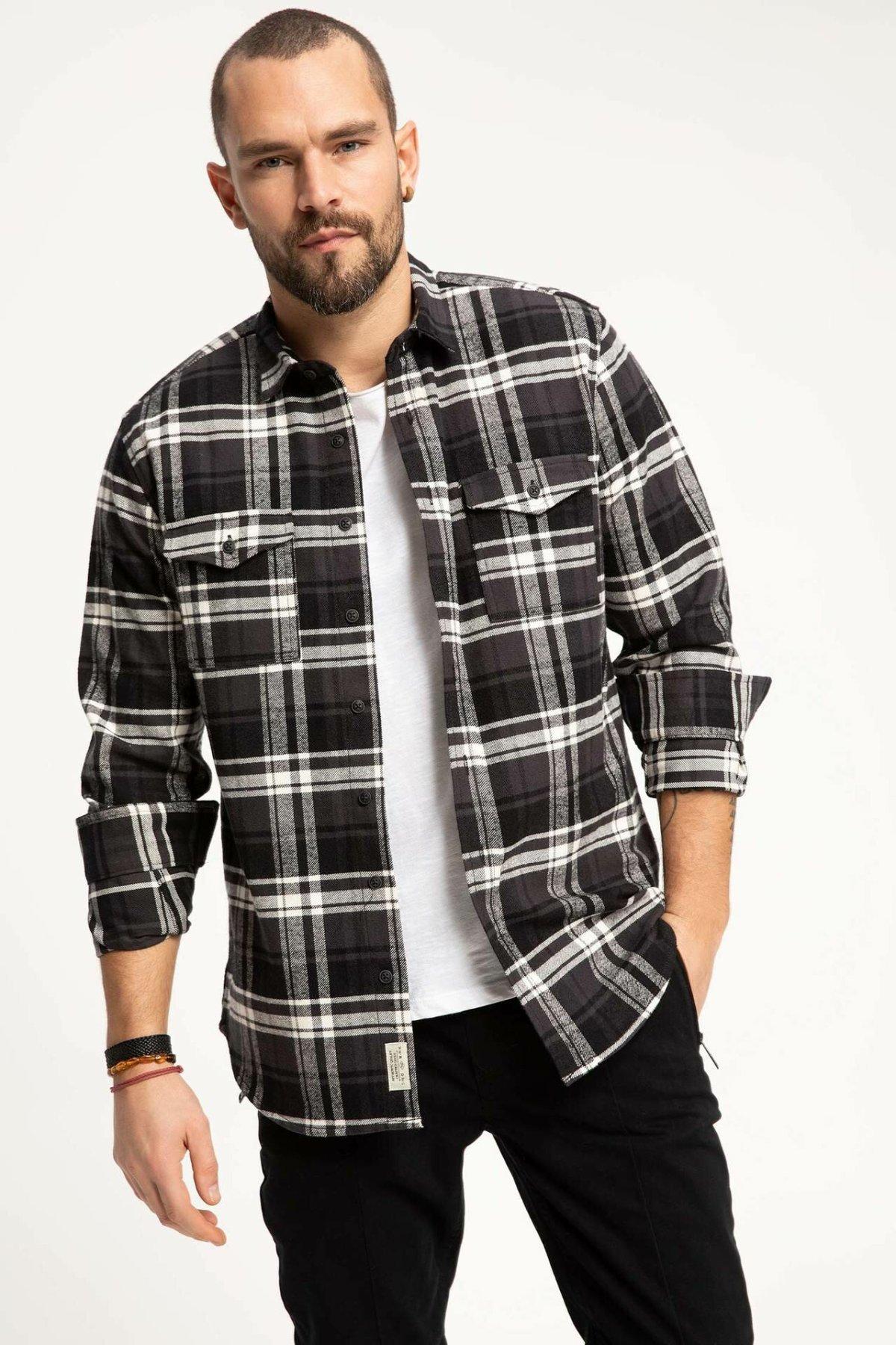 DeFacto Fashion Man Long Sleeve Shirt Lapel Collar Plaid Casual Shirt Mens Loose Autumn Tops New - H5718AZ18WN