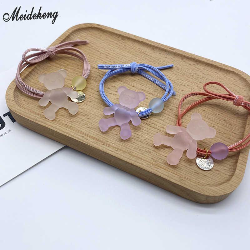 Thời Trang Acrylic Gấu Cao Su Hạt Trang Sức DIY Làm Mờ Ốp Lưng Lỗ Đơn Giản DIY Với Dây Da Phụ Kiện