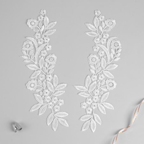 3557531 Appliques Sewing Lais Polyester 27*8 Cm White