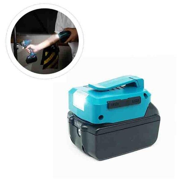 Dla Makita ADP05 14.4V/18V Lion Battery podwójny konwerter USB Port z oświetleniem LED Spotlight latarka zewnętrzna do akumulatorów Makita