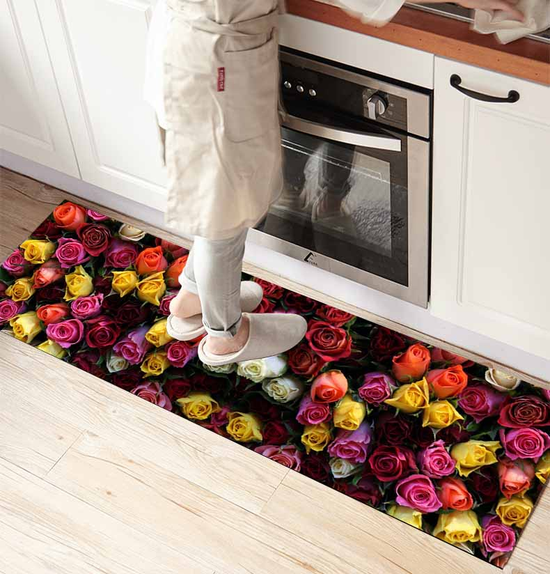 Else Red Yellow Orange Roses Flowers Floral 3d Print Non Slip Microfiber Kitchen Counter Modern Decorative Washable Area Rug Mat