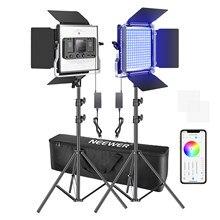 Neewer 2 ou 3 pacotes 660 rgb led luz com controle de aplicativo, kit de iluminação de vídeo fotografia com suportes e saco, 660 leds smd cri95