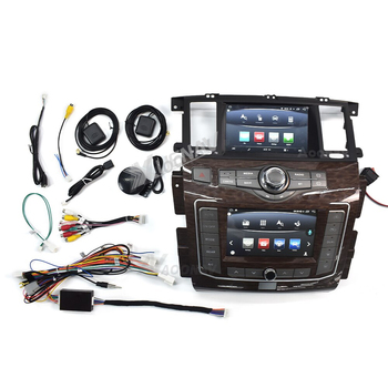 Android 10 Car Radio player For Nissan Patrol Y62 -infiniti QX80 2010-2020 Dual screen car stereo multimedia autoradio head unit image