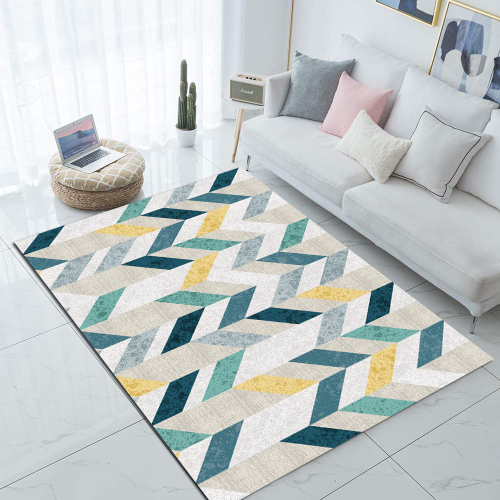 Else Blue Yellow Modern Geometric Nordec 3d Print Non Slip Microfiber Living Room Decorative Modern Washable Area Rug Mat