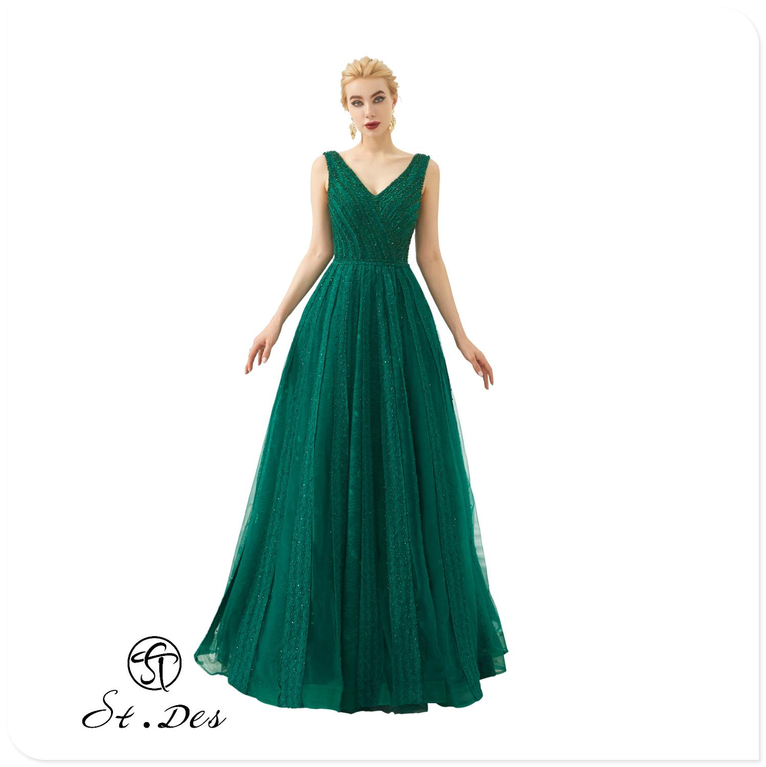 NEW 2020 St.Des Green Black Wine Purple A-line V-Neck Beading Diamond Sleeveless Designer Floor Length Evening Dress Party Dress