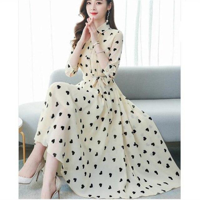 2020 Korean summer new stand-up collar seven-point sleeves temperament chiffon floral big swing dress women 1