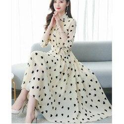 Корейское летнее новое платье с воротником-стойкой с рукавами из семи точек, темпераментное шифоновое платье с цветочным принтом для женщи...