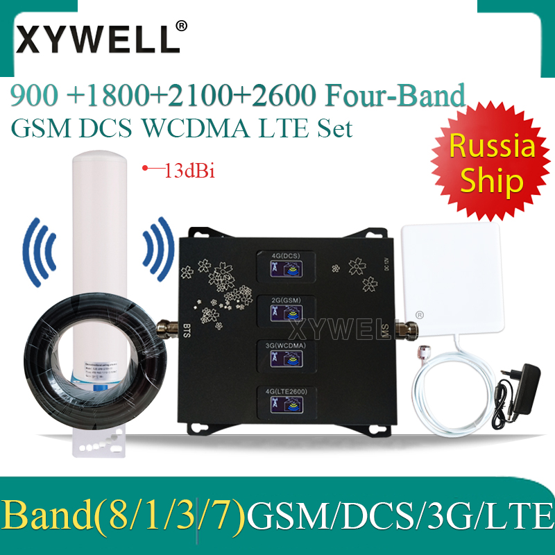 900/1800/2100/2600mhz Cell Phone Booster Four-Band Mobile Signal Amplifier 2G 3G 4G LTE Cellular Repeater GSM DCS WCDMA LTE Set