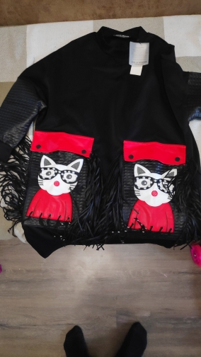Women Autumn Winter Black Midi Dress Plus Size Large Pu Pocket &Amp; Fringes Ladies Stylish Party Club Wear Cute Dress photo review