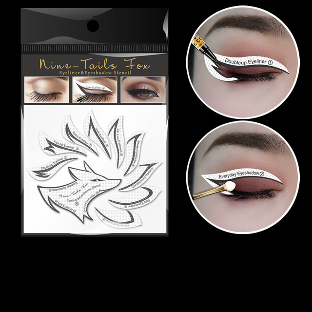 10pcs Eye Makeup Stencils Winged Eyeliner Stencil Template Shaping Tools Eyebrows Eye Shadow Makeup Template Tool stickers Card 3
