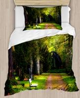 Else Green Trees Jungle Way Road 4 Piece 3D Print Cotton Satin Single Duvet Cover Bedding Set Pillow Case Bed Sheet|Duvet Cover| |  -