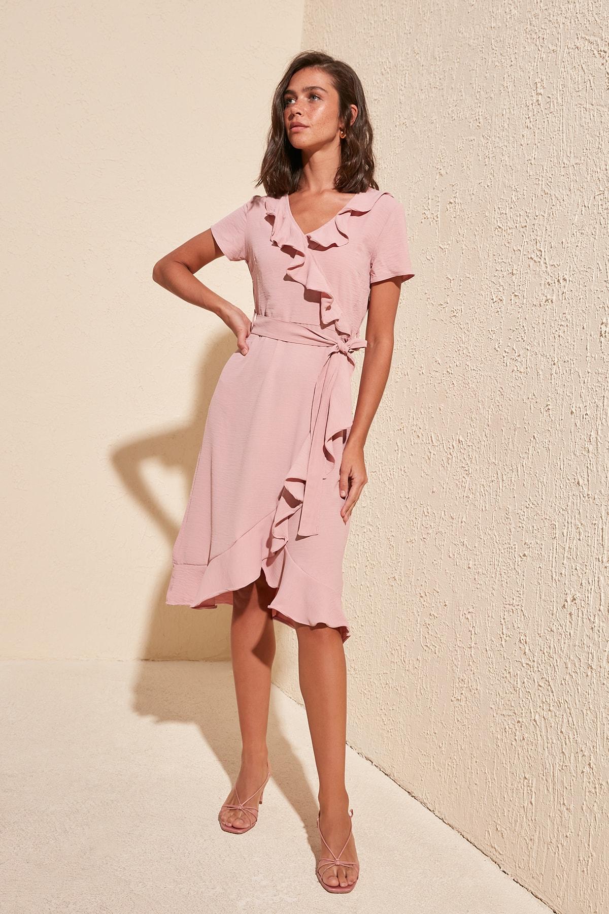 Trendyol Belted Frilly Dress TWOSS20EL0581