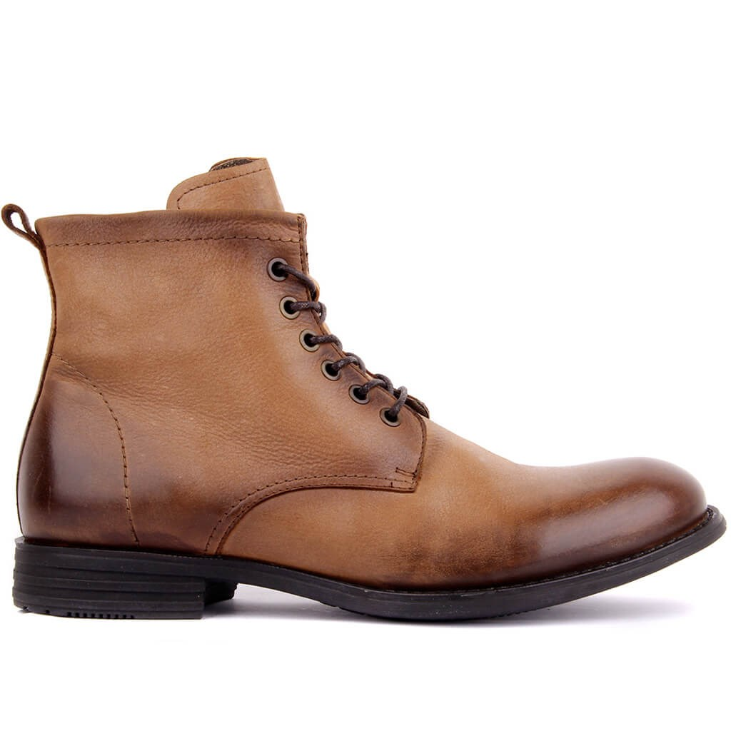 Sail Lakers-Light Brown Leather Zipper Male Boots