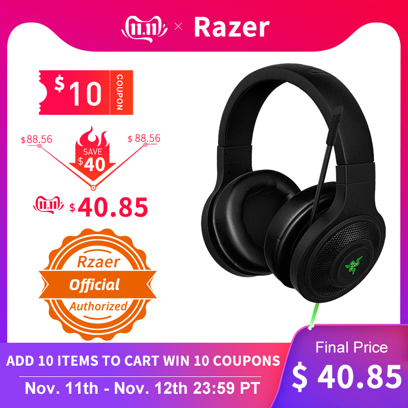 Razer Kraken Essential Headphone Noise Isolating Over Ear wired Gaming Headset Analog 3.5 mm with Mic for PC/Laptop/Phone Gamer-in Headphone/Headset from Consumer Electronics
