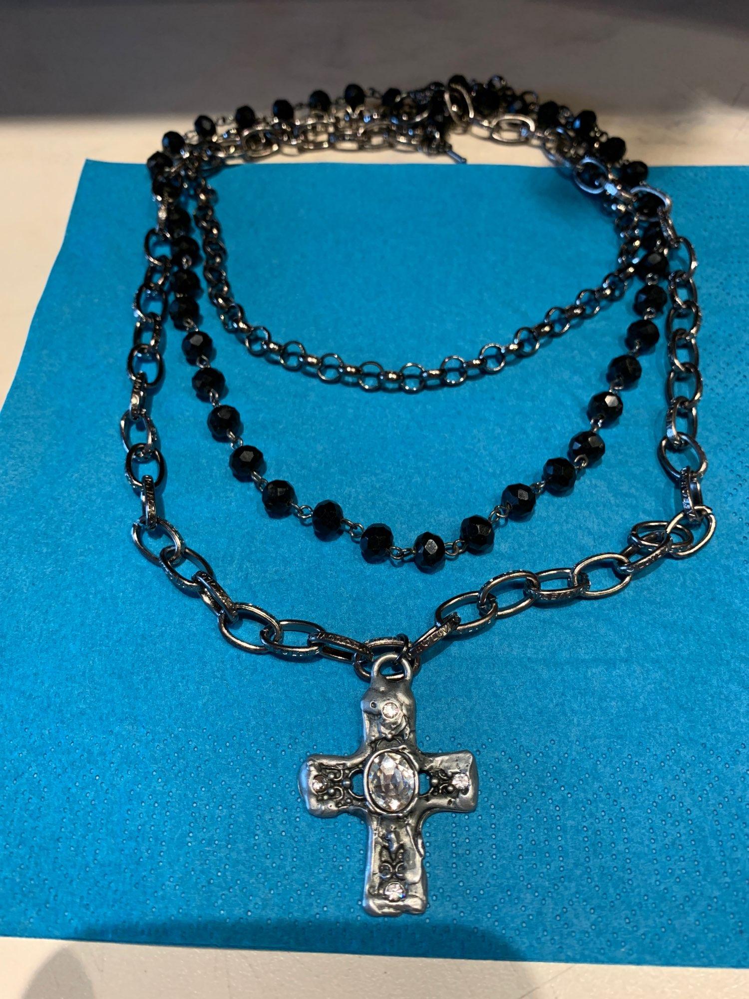Egirl Eboy Gothic Necklaces Multiple Rosary & Chain Cross Pendant photo review