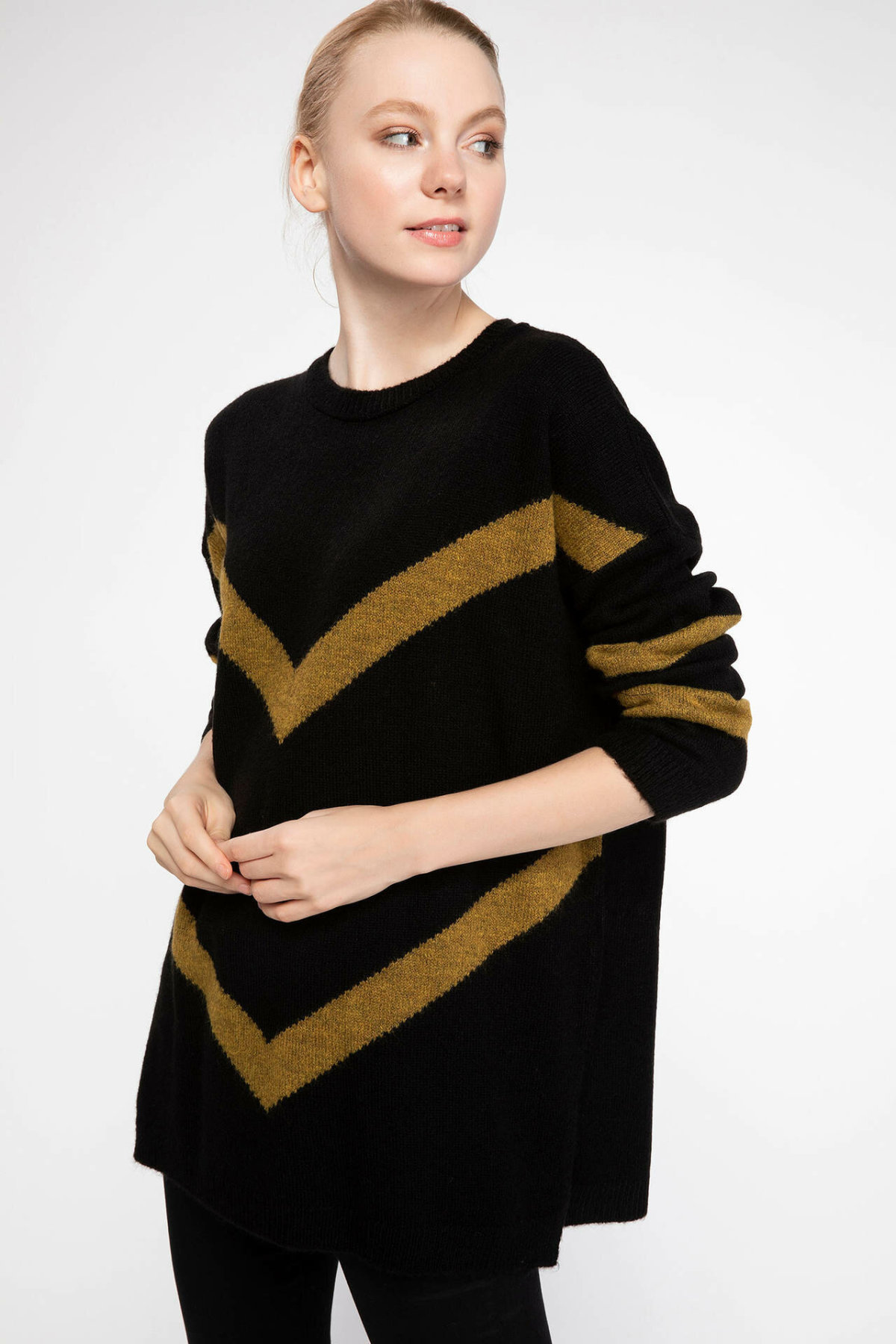 DeFacto Autumn Women Black Knitted Loose Pullovers Casual Long Sleeve Tricot Pullovers Long Hoodie Top Cloth Tunic-J0706AZ18WN