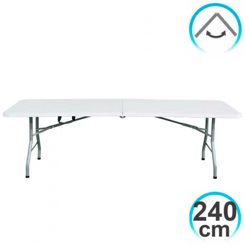 240cm Table Rectangular Folding White Caterers GH91