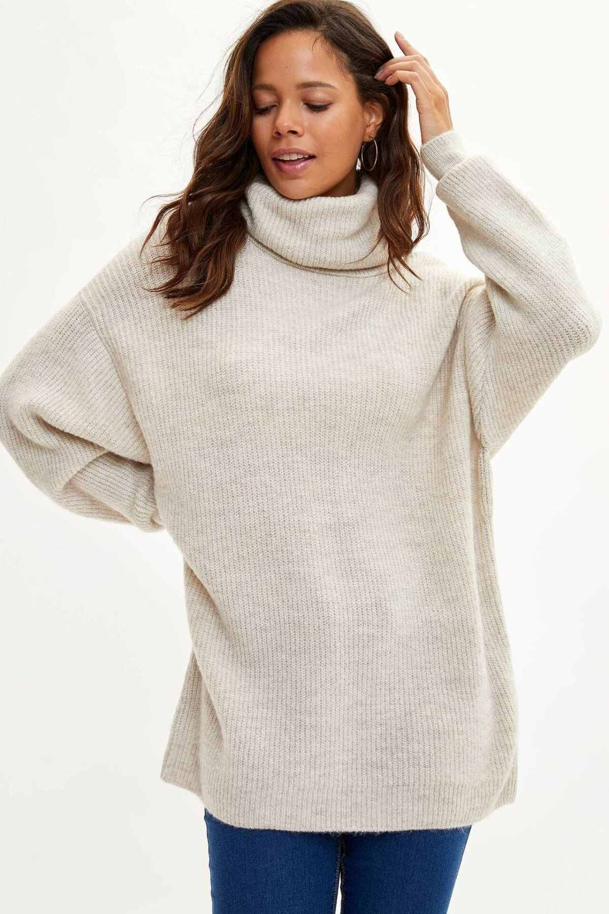 Defacto Người Phụ Nữ Mùa Đông Sang Trọng Cổ Cao Dài Vải Áo Nữ Dài Thun Ấm Sweaters-J2247AZ19WN