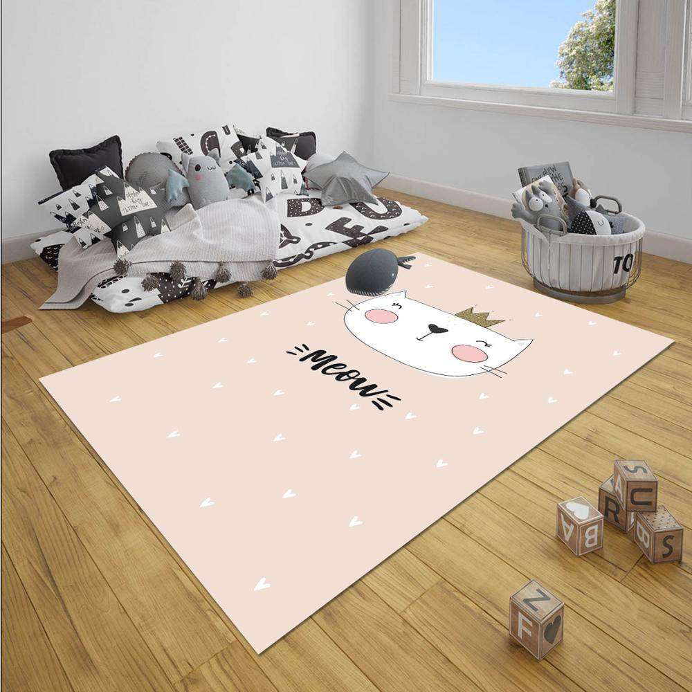Else Pink White Princess Stars Girl Nordec Girls 3d Print Non Slip Microfiber Children Baby Kids Room Decorative Area Rug Mat