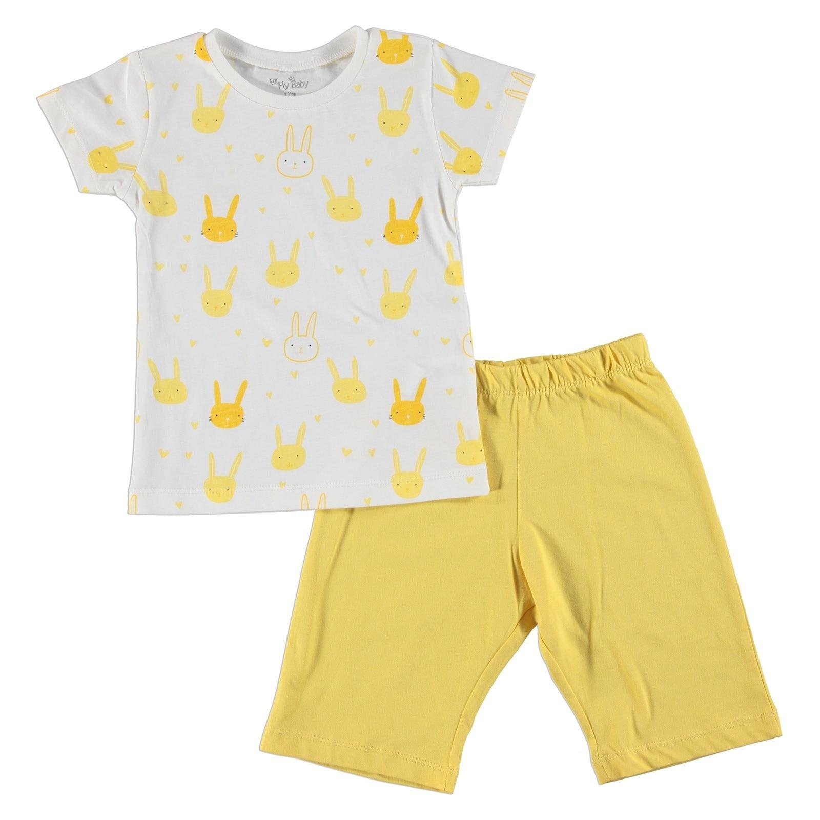 Ebebek For My Baby Hearted Rabbit Feature Printed Short Sleeve Girl Pyjamas