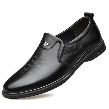 2020 męskie buty z prawdziwej skóry nowe miękkie biznesowe rozmiar na co dzień 38-44 czarne buty z prawdziwej skóry tanie i dobre opinie DEOLERLTOL Skóra bydlęca Stałe Dla dorosłych 209106 Pig Suede Szpiczasty nosek Rubber Slip-on Pasuje prawda na wymiar weź swój normalny rozmiar