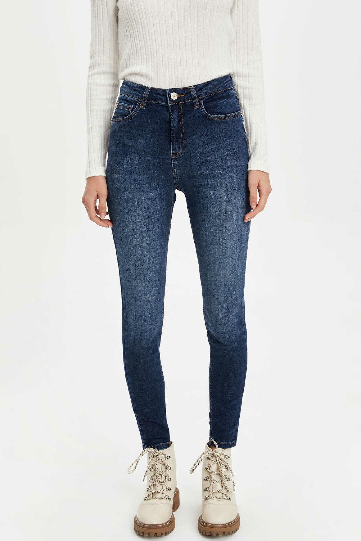 DeFacto Woman Autumn Washed Skinny Denim Jeans Women Casual Fit Slim Denim Pants Female Blue Denim Trousers-L7112AZ19AU