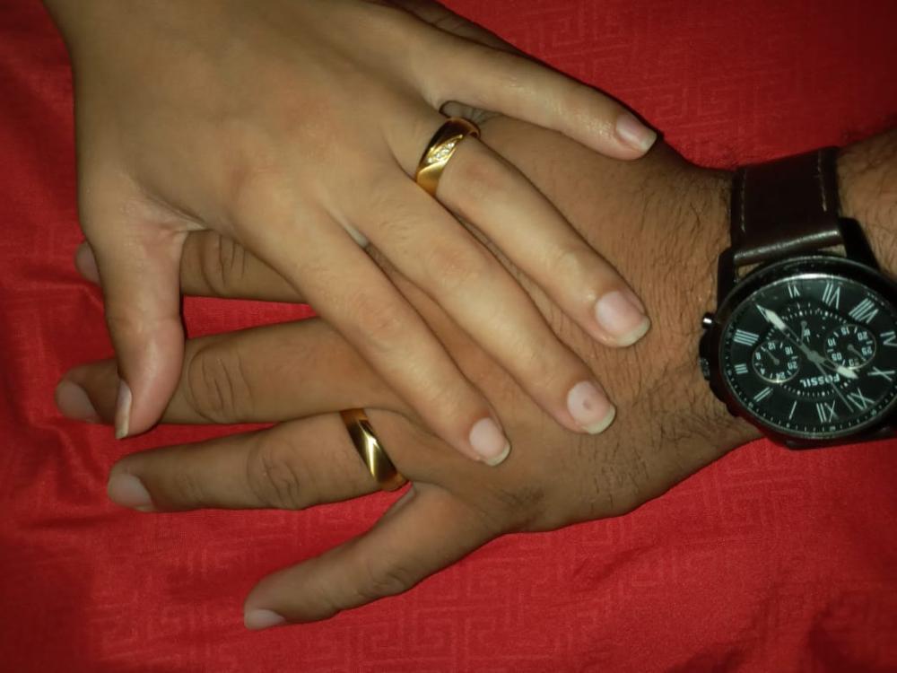 Bague de fiançailles pour couple - hommes et femmes plaquée or 18k