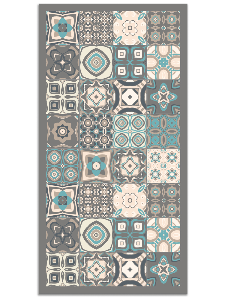 Panorama® Vinyl Rug Printed With Vintage Tiles Design In Blue Colour | Kitchen Carpet | Living Room Rug | XXL Rugs | PVC Rugs