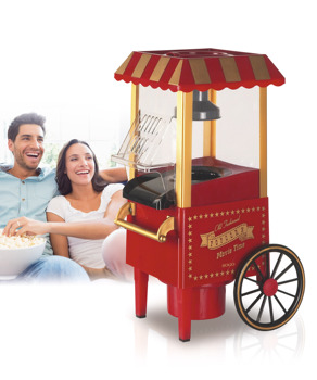 Sogo SS-11330 Palomitera Cart Old Air Hot No Oil, Plastic, Red Vintage, 41.4x26.2x21 cm
