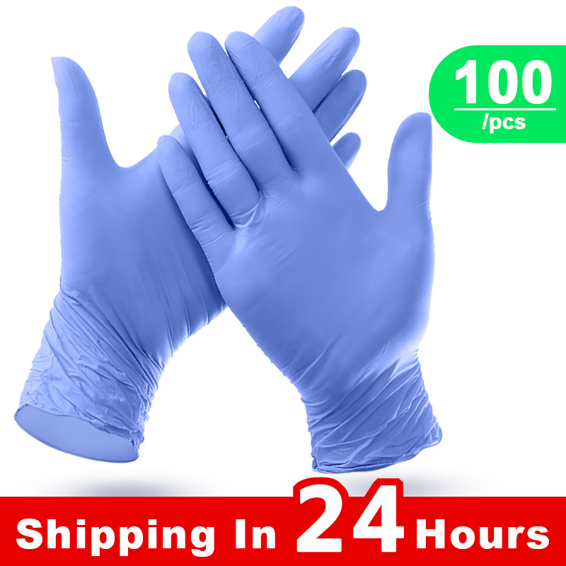 Nitrile Gloves 100PCS/Box Disposable Gloves Industrial Food Safety Protective Gloves 3mm 50 Pairs Gloves Nitrile