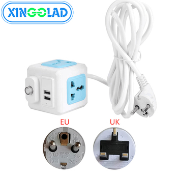 EU UK Plug Network Filter Multi Powercube Power Strip Main Switch 4 Universal Outlet 2 USB 1.8/2/3M Extension Cord Power Adapter image