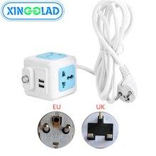 האיחוד האירופי בריטניה תקע רשת מסנן רב Powercube כוח רצועת עיקרי מתג 4 אוניברסלי לשקע 2 USB 1.8/2/3M הארכת כבל חשמל מתאם
